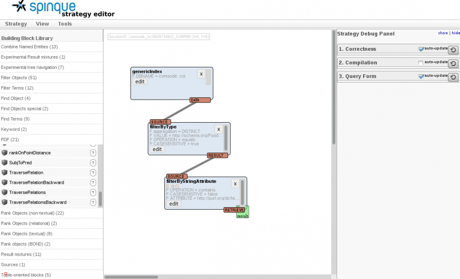 Screenshot of the Spinque strategy editor