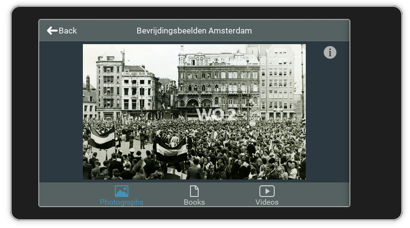 Screenshot Linked Open Images: explore panel showing photograph related to the liberation of Amsterdam