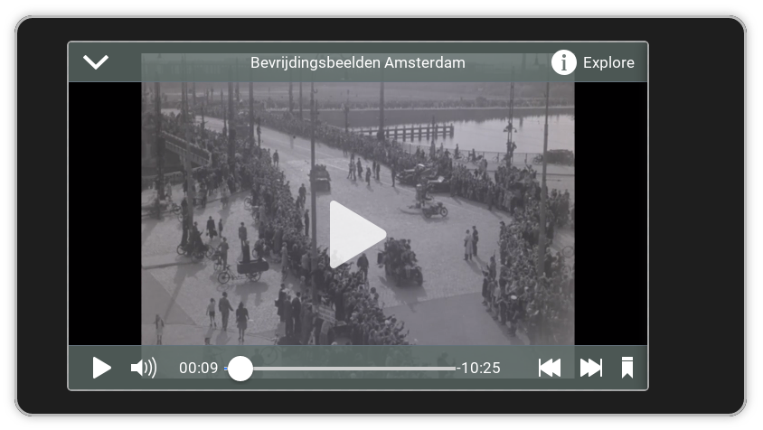 Screenshot Linked Open Images: video player showing a Dutch news real about the liberation of Amsterdam