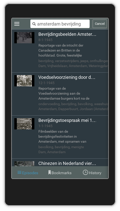 "Screenshot Linked Open Images: list of videos matching the query ""bevrijding amsterdam"""